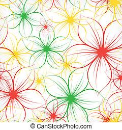 achtergrond., vector, bloem, seamless