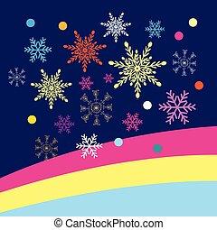 achtergrond, vector, kerstmis, snowflakes, gekleurde, blauwe