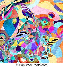 achtergrond, veelkleurig, vlinder