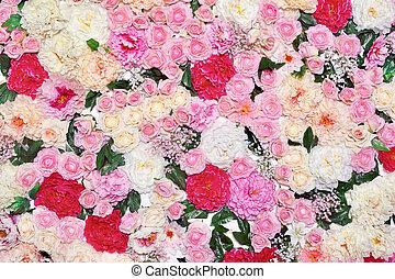 achtergrond, velen, bloemen, floral decoratie, wall., gematigd, pastel, toned, kleuren, foto