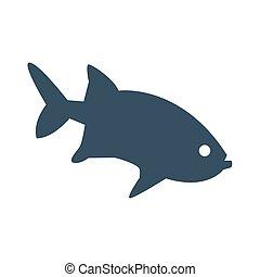 achtergrond., visje, witte , pictogram