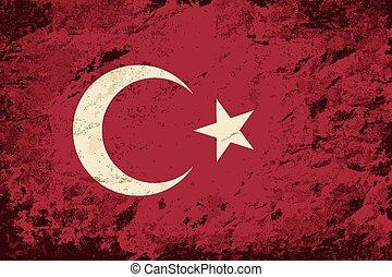 achtergrond, vlag,  grunge, turkse