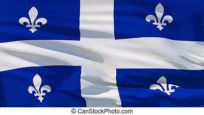 achtergrond., vlag, kwaliteit, textuur, quebec, zijde, hoog, canada, illustratie, 3d