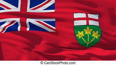 achtergrond., vlag, kwaliteit, textuur, zijde, hoog, ontario, canada, illustratie, 3d