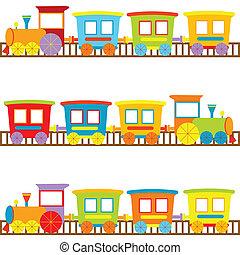 achtergrond, voor, geitjes, met, spotprent, treinen