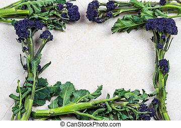 achtergrond, vormen, broccoli, frame, paarse , sprouting, ...