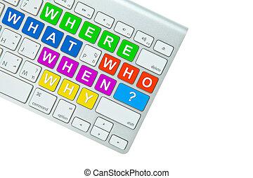 achtergrond, vrijstaand, computer, vragen, toetsenbord, witte