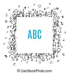 achtergrond, vrijstaand, frame, witte , alfabet