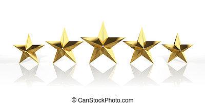 achtergrond, vrijstaand, gouden, sterretjes, vijf, witte
