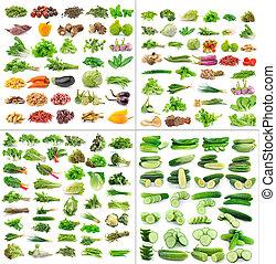 achtergrond, vrijstaand, groentes, verzameling, witte
