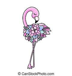 achtergrond., vrijstaand, schattig, witte , roze, vecto, vogel, tropische , flamingo.