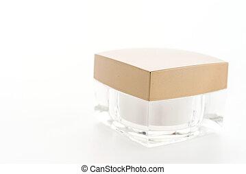 achtergrond, vrijstaand, schoonheidsmiddel, fles, witte , room