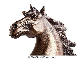 achtergrond, vrijstaand, standbeeld, witte , brons, paarde