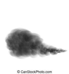 achtergrond, vrijstaand, vector, zwarte rook, witte