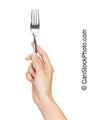 achtergrond, vrijstaand, vork, hand, witte