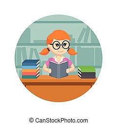 achtergrond, vrouwlijk, boek, student, cirkel, lezende
