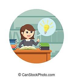 achtergrond, vrouwlijk, idee, terwijl, boek, student, gekregen, cirkel, lezende