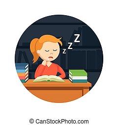 achtergrond, vrouwlijk, slapende, terwijl, boek, student, cirkel, lezende