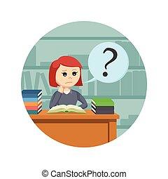achtergrond, vrouwlijk, verward, terwijl, boek, student, cirkel, lezende