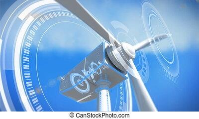 achtergrond, werkende , blauwe , windmolen