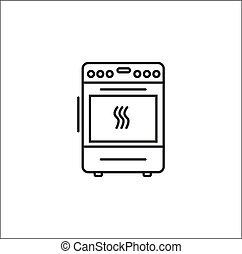 achtergrond, wit lijnen, pictogram, cooker, vector, kunst