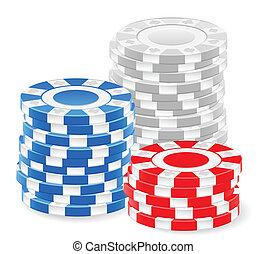 achtergrond., witte , casino spaanders, stapel