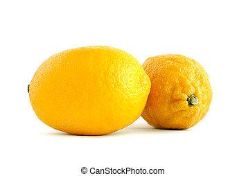 achtergrond., witte , citroen, twee, vrijstaand