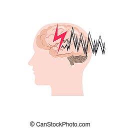 achtergrond., witte , epilepsie, vrijstaand, pictogram