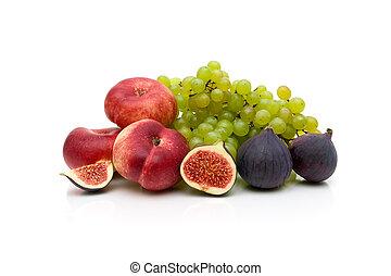 achtergrond., witte , fruit, vrijstaand, rijp