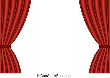 achtergrond., witte , geopend, rood gordijn