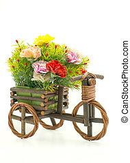 achtergrond, witte , hout, fiets, bloem
