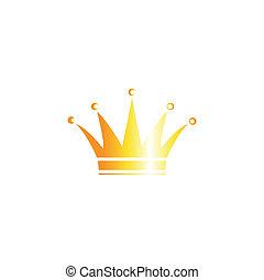 achtergrond, witte , kroon, vrijstaand, goud