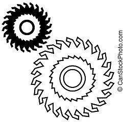 achtergrond., witte , lemmet, zaag, circulaire