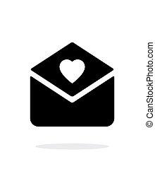 achtergrond., witte , liefde brief, pictogram