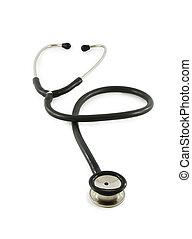 achtergrond, witte , stethoscope, vrijstaand, verticaal