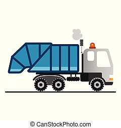 achtergrond., witte , vrachtwagen, spotprent, restafval