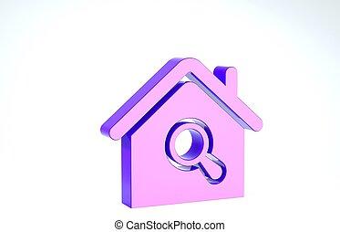 achtergrond., witte , zoeken, echte, onder, pictogram, woning, symbool, paarse , landgoed, glas., 3d, illustratie, vergroten, render, vrijstaand