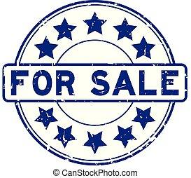 achtergrond, woord, blauwe , grunge, verkoop, ronde, ster, witte , rubber, pictogram, zeehondje, postzegel