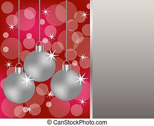 achtergrond, zilver, versieringen, hangend, kerstmis, rood