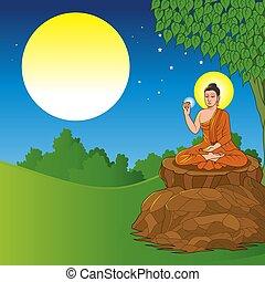 achtergrond, zittende , boeddha, onder, boompje, volle, bodhi, landscape, maan