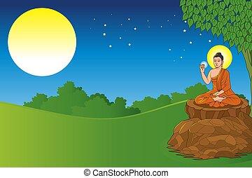 achtergrond, zittende , boeddha, onder, boompje, volle, landscape, maan
