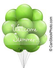 achtergrond, zomer, summer., welkom, groene, balls.