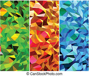 achtergronden, abstract, vector, set, triangle.