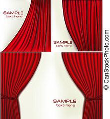 achtergronden, fluweel, set, rood