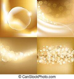 achtergronden, goud, set