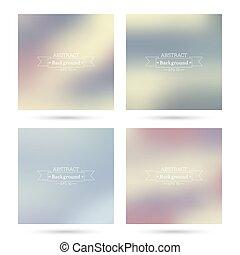 achtergronden, kleurrijke, abstract, set, blurred.