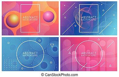 achtergronden, set, abstract, levendig, vloeistoffen, kleuren