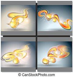 achtergronden, set, vector, abstract
