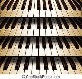 achtergrondmuziek, pianotoetsenbord