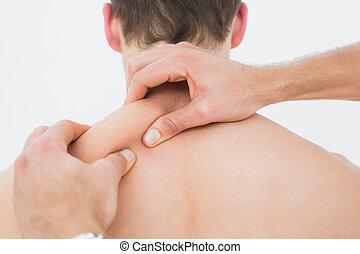 achterk bezichtiging, van, een, man, wezen, massaged, door,...